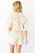 Kelli Printed Polka Dot Collared Button Down Top - Ivory + Black