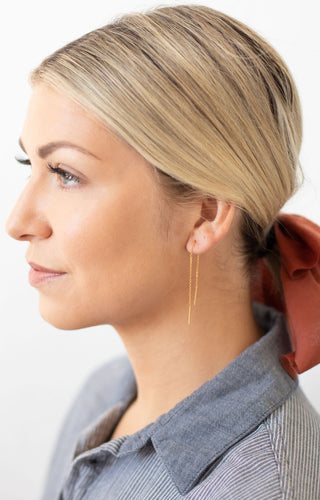 Threader Mini Needle Drop Earrings - Gold