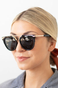 Adriana Unisex Round Brow-Bar Fashion Sunglasses - Black