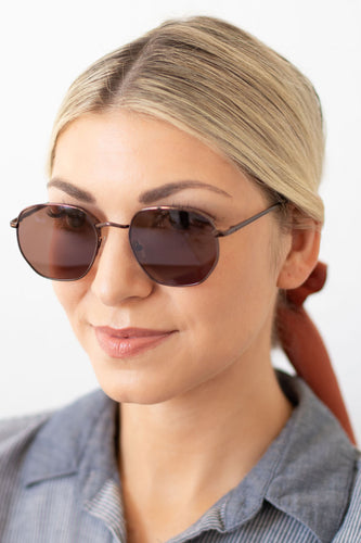Jelena Unisex Geometric Round Fashion Sunglasses - Brown