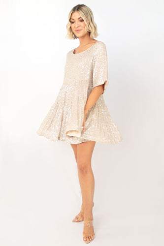 Knockout Sequin Baby Doll Dress - Gold Silver