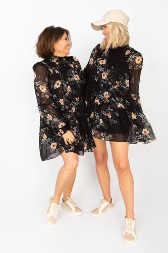 Smell the Roses Floral Babydoll Ruffle Long Sleeve Mini Dress - Black