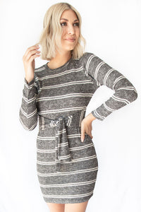 Dahlia Stripe Dress Tie Front Ribbed Print Knit Mini Dress - Charcoal