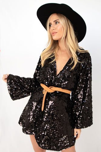 The Major Sequin Dress with Twist Front - Black