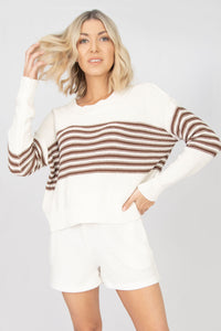 Nora Loose Fit Striped Long Sleeve Dolman Sweater - Ivory + Brown