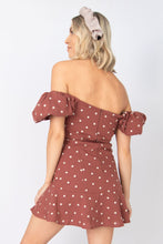 Napa Polka Dot Ruffled Puff Short Sleeve Mini Dress - Brick + White