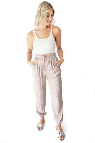 Spice Moto Jogger Pants with Pockets - Taupe