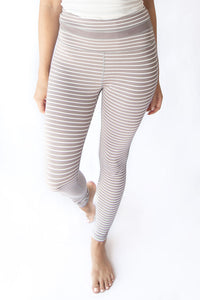 Canyon Striped High Waisted Active Leggings - Mocha