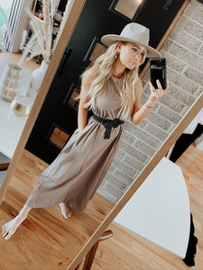 Easy Breezy Loose Fit Knit Midi Dress - Mocha