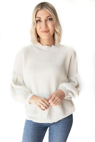 Wyatt Loose Fit Round Neck Drop Shoulder Long Sleeve Sweater - White