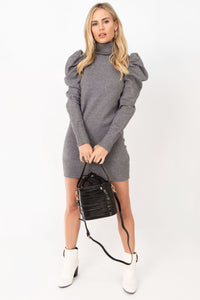 Snow Angel Puff Sleeve Mock Neck Sweater Dress - Heather Grey