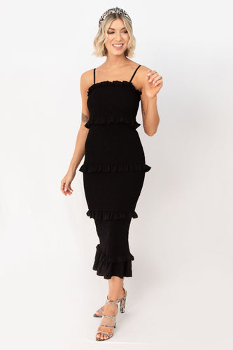 Hamptons Sleeveless Pleated Midi Dress - Black