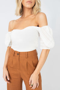 Opal Puff Shoulder Princess Neck Short Sleeve Crop Top - White