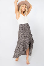 Sundown Multi-Layered Ruffled Hi-Lo Animal Midi Skirt - Grey Combo