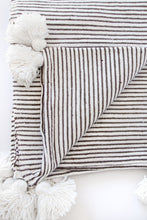 Tangle Hand-Loomed Cotton Striped Throw, Black w/ White Tassels
