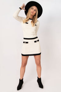 Aurora Stretch Knit Crop Sweater + Mini Skirt Set - Ivory w Black Trim