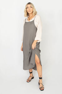 Shelby Cami Style Midi Dress w Deep Open Back - Olive Grey
