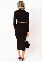 Foxie Long Sleeve Crop Top and Long Skirt Set - Black