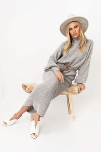Alpine Boxy Turtleneck Sweater + Midi Skirt Set - Grey