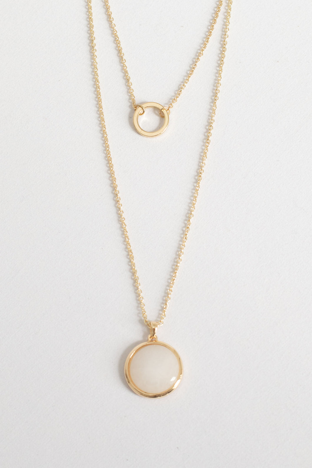Posy Double Chain Disc and Hoop Necklace - Gold