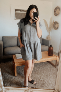 Hide and Seek Cotton Gauze Short Sleeve Tunic Romper - Charcoal