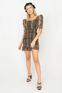 Tyler Snake Ruffle Short Puff Sleeve Mini Dress