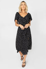 Chateau Deep V-Neckline Short Sleeve Side Slit Polka Dot Midi Dress - Black + White