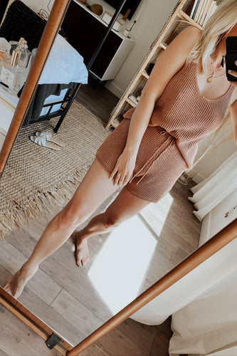 Spring Fever Knit Deep V Top + High Waisted Short Lounge Set - Brick