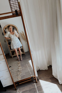 Sip The Day Away Sweetheart Puff Sleeve Mini Dress - Off White