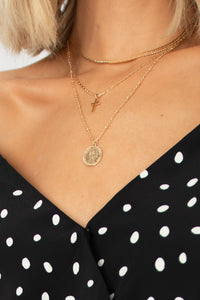 Head Turner Multi-Layered Boho Necklace w Chains + Cross + Coin Pendant - Gold