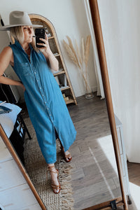 Stay Awhile Collared Sleeveless Shirt Dress - Light Denim