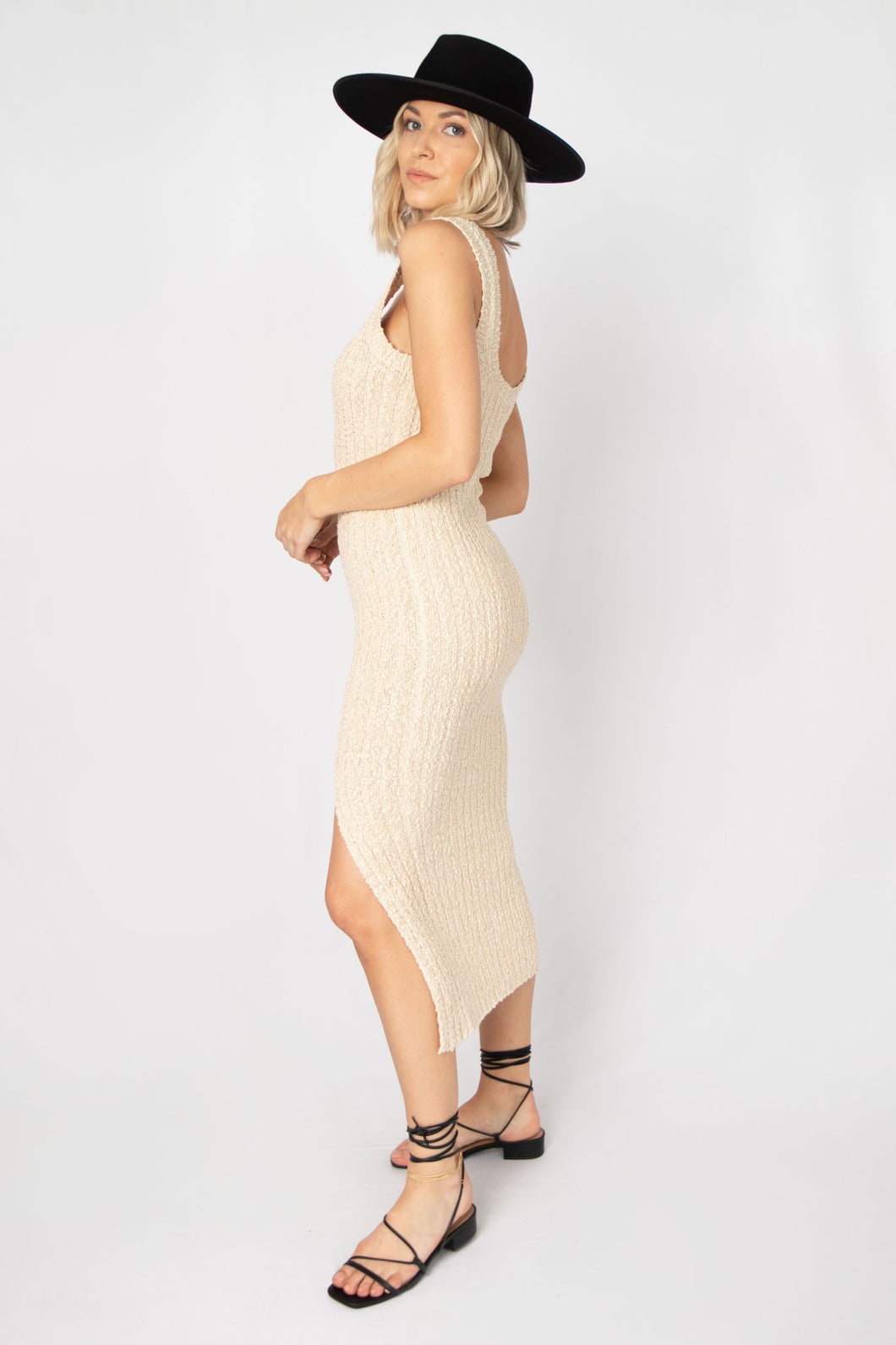 Viola Ribbed Knit Sleeveless Body Con Midi Dress - Natural