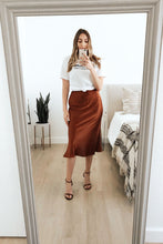 Hotshot Satin Flare Midi Skirt - Brown