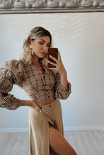 Hello Gorgeous Plaid Button Up Long Sleeve Crop Top w Open Back - Khaki
