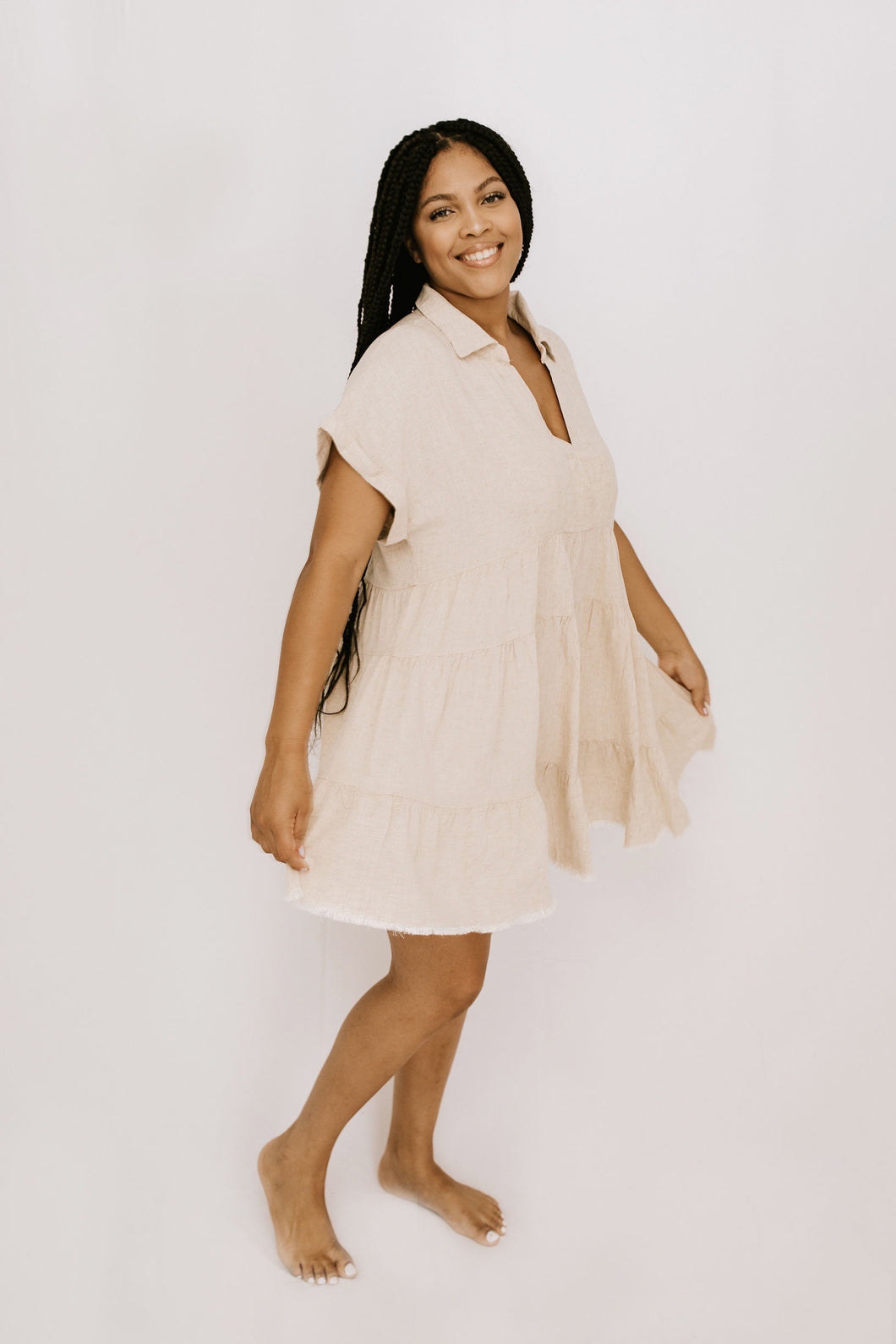 Voyager Ruffle Tiered Dress - Oatmeal - More Sizes