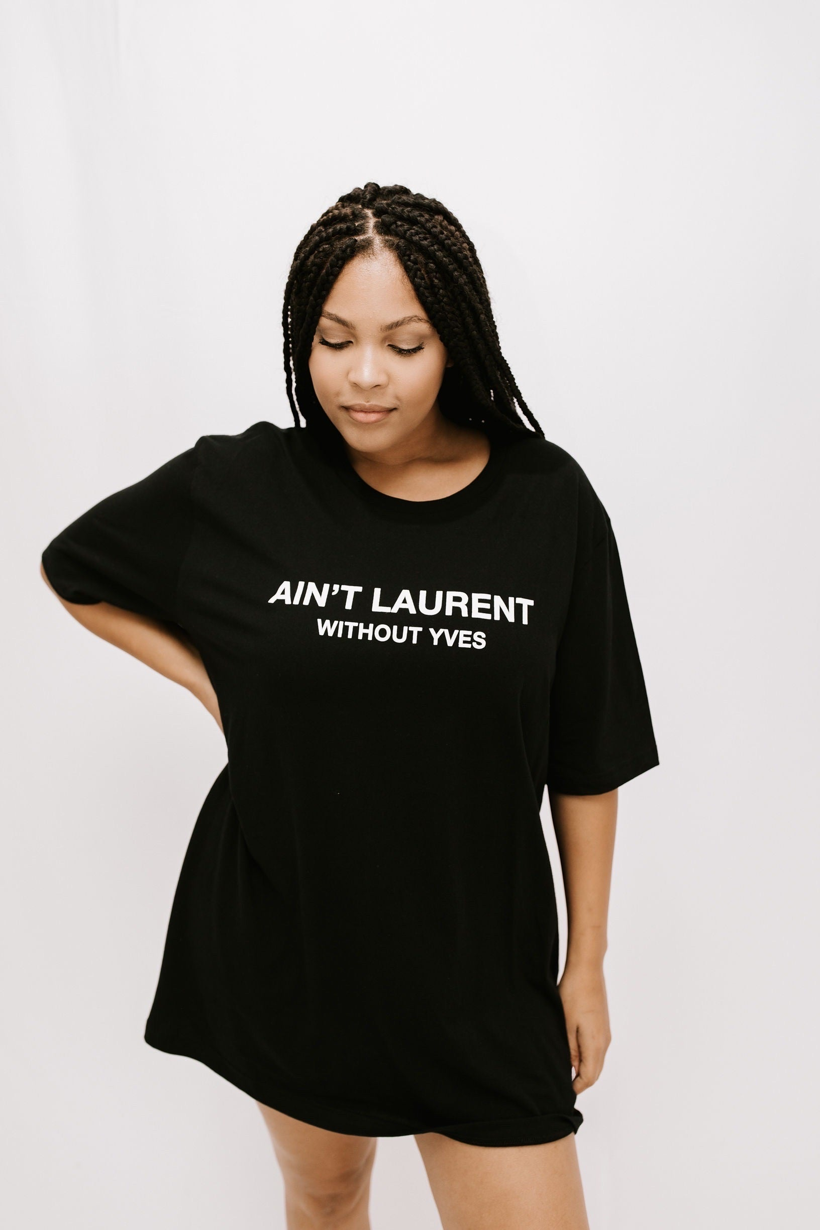 'AIN'T LAURENT WITHOUT YVES' Graphic TShirt - Black