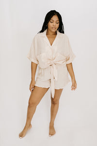 Sea Breeze Collared Top - Cream