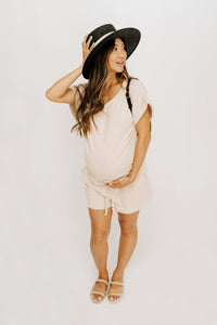 Staying In Romper - Taupe