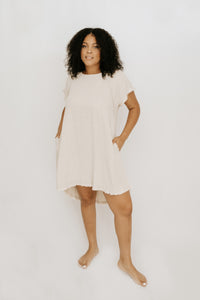 Tatum Frayed Hem Dress - Oatmeal