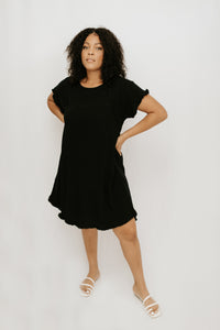 Tatum Frayed Hem Dress - Black