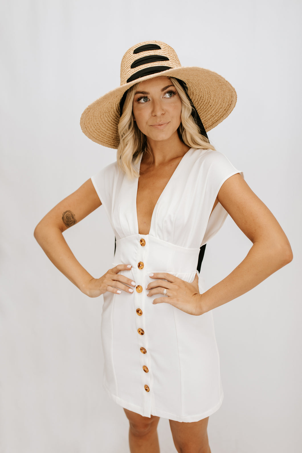 Lucky You Button Front Mini Dress - White