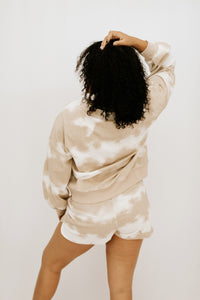 Sweet Talk Tie Dye Long Sleeve + Short Set - Taupe - More Sizes