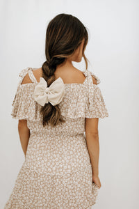 Toledo Bow Barrette + Scrunchie Set - Ivory