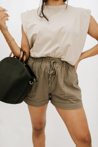 Petal Pocketed Tencel Short - Olive