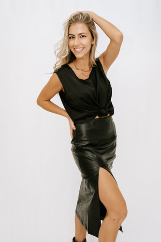 Michela Satin Top - Black