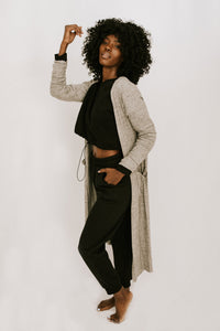 By The Way Crop, Cardi + Pant 3 Piece Set - Black + Grey