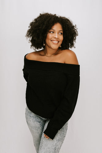Stop Time Off Shoulder Sweater - Black