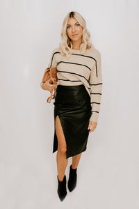 Kelsea Striped Sweater - Taupe