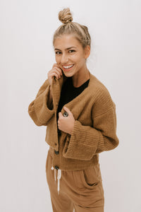 Starlight Button Front Cardigan - Taupe