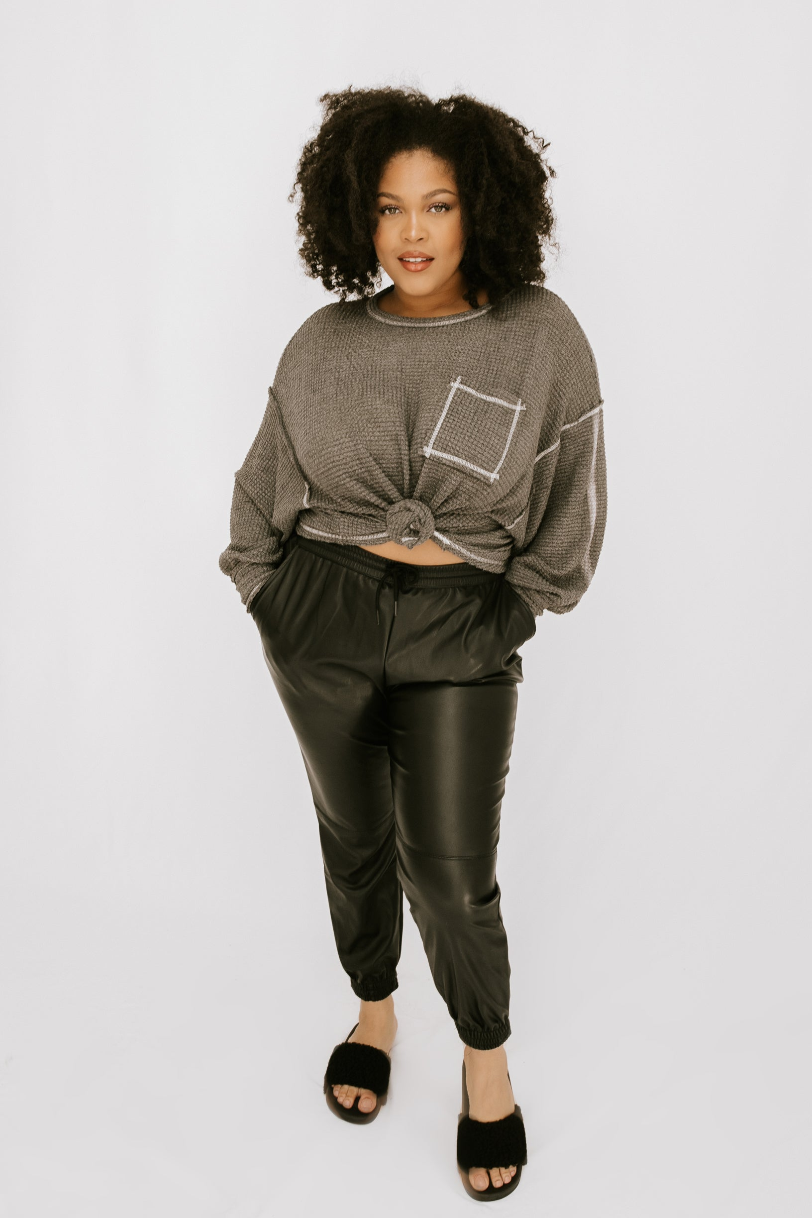 Eldie Waffle Knit - Charcoal - More Sizes